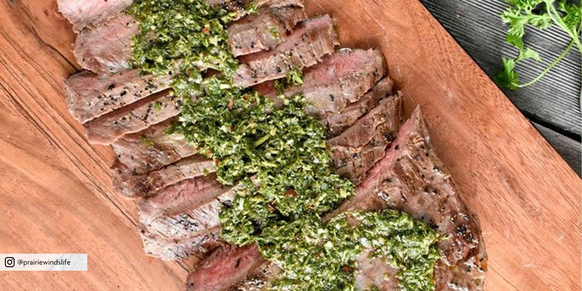 Sous Vide Flank Steak with Chimichurri Sauce (Serves 4)
