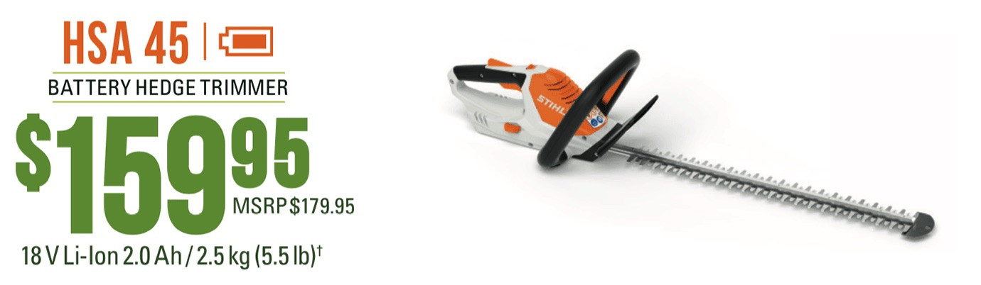 STIHL HSA 45: Lightweight hedge trimmer with integrated battery