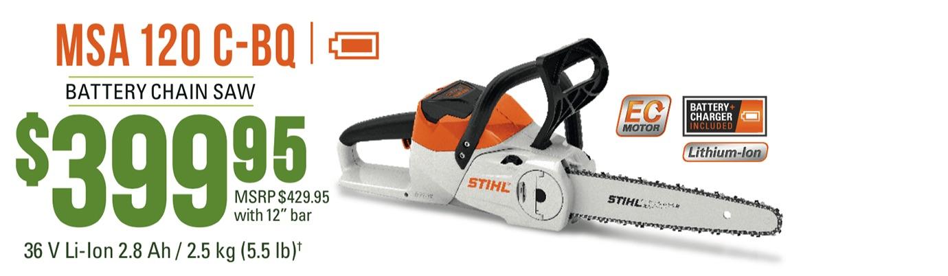 STIHL MSA 120 C-BQ: Lightweight homeowner chain saw