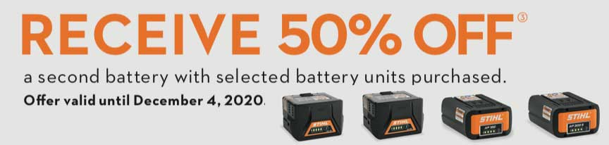 Receive 50% off a second battery with selected battery units purchased.